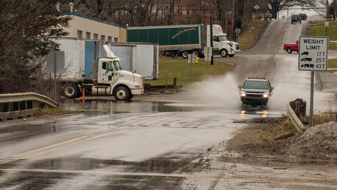Standing water on Golden Avenue between Main Street and Beadle Lake Road on Wednesday.