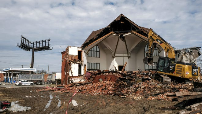 The sanctuary is exposed as the former First Latin American Baptist church in the Delray neighborhood of Detroit is torn down on Thursday, February 22, 2018 to make way for the Gordie Howe International bridge to Canada that will run through the middle of the community.
