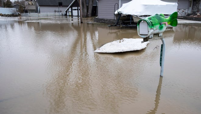 Flooding on Strawberry Lane in Port Huron Township, Feb. 22.