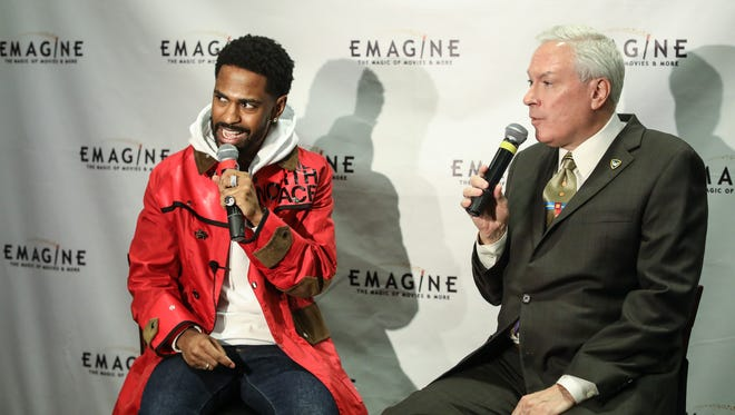 Detroit Rapper Big Sean holds a press conference with Paul Glantz, the co-founder of the Troy-based Emagine Entertainment, about their partnership to build a luxury movie theater and venue in Detroit. They spoke at the Emagine Royal Oak theater on Wednesday, Feb. 28, 2018.