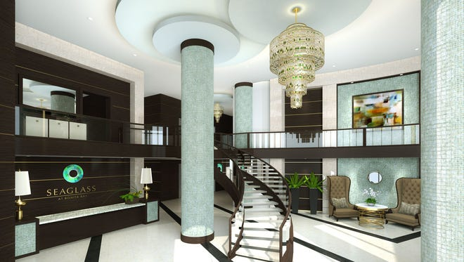 The Seaglass tower will present common areas designed by Renee Gaddis Interiors.The design includes finishes in the tower's two-story lobby.