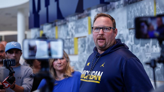U-M football offensive coordinator Tim Drevno answers questions during press conference at the Towsley Museum in Schembechler Hall, Thursday, August 3, 2017 in Ann Arbor.