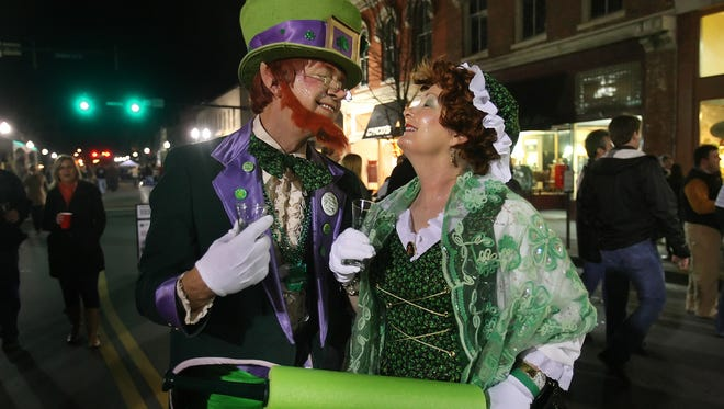 David and Bette Carter dressed up like leprechauns at downtown Franklin's Main Street Brew Fest.