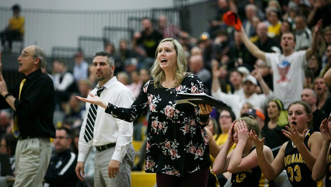 Cascade coaches, players and fans react to a referee's call at the OSAA 4A state championship game against Marshfield, March 10. OSAA could make a decision on Cascade's appeal next week.