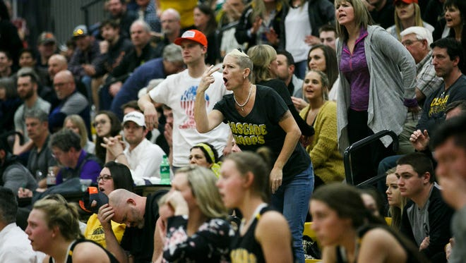 Cascade fans react to a referee's foul call at the OSAA 4A state championship game against Marshfield on Saturday, March 10, 2018, at Forest Grove High School. Cascade lost the game 48-41.