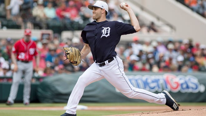 Tigers pitcher Matthew Boyd (48) throws ta pitch against the Nationals at Publix Field at Joker Marchant Stadium on Monday, March 12, 2018.