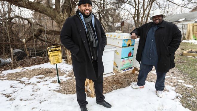 Keith Crispen, 32, of Detroit, left, and Timothy Paule, 34, of Detroit started a nonprofit called Detroit Hives that transformed a vacant lot on the east side of Detroit to a bee hive and future farm. They are photographed Tuesday, March 13, 2018, on the property they received through the Detroit Land Bank Authority.