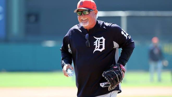 Tigers manager Ron Gardenhire (15) smiles before the game at Champion Stadium on Thursday, March 15, 2018.