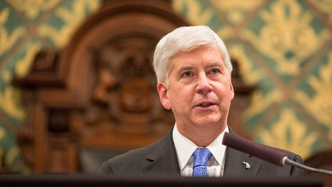 Gov. Rick Snyder delivers his State of the State in the House of Representatives chamber at the State Capitol in Lansing on Tuesday, Jan. 23, 2018.