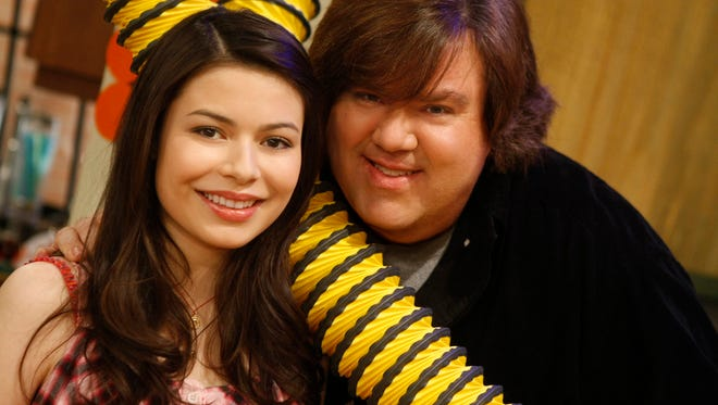 "Miranda Cosgrove and Dan Schneider from Nickelodeon's ""iCarly"" television series."