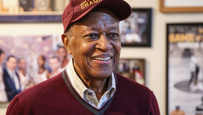 Jerry Harkness was a player on the 1963 Loyola national title basketball team, pictured at his home in Lawrence, Ind., Wednesday, March 28, 2018. On March 31, 2018, the Loyola Ramblers return to the final four of the NCAA men's basketball tournament for the first time since 1963.