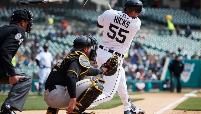 Tigers catcher John Hicks (55) breaks his bat lines out in the second inning of Game 1 of a doubleheader against the Pirates on Sunday, April 1, 2018, at Comerica Park.