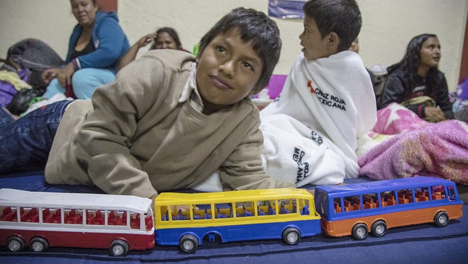 Anderson Cobach Zacarias, a 10-year-old from Guatemala at a church in Puebla, Mexico, that has been converted into a shelter for several hundred migrants from Central America, many of home had hoped to travel to the U.S. border, drawing the ire of President Trump.