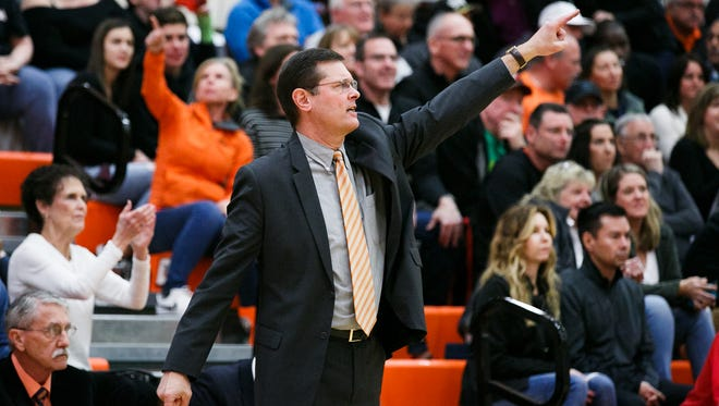 Sprague head coach Steve Masten in a second-round Class 6A state playoff game against Barlow on March 3, 2018, at Sprague High School. The Olympians lost 84-62, ending their season.