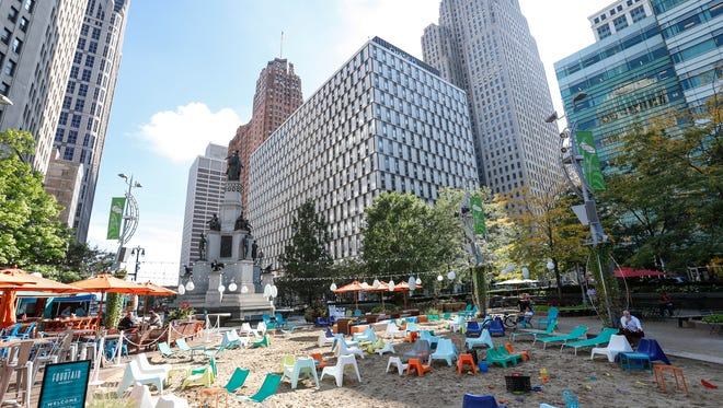 Campus Martius Park in downtown Detroit, photographed on Wednesday, September 20, 2017, will be one of the many sights visited by attendees at the Urban Land Institute conference in early May 2018.