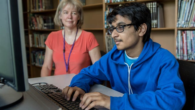 Lakeview Middle School 8th grade student Saagar Dubey works with his spelling coach Barbara Galonsky in preparation for the the 91st Scripps National Spelling Bee that will held at the Gaylord National Resort & Convention Center in National Harbor, Maryland from May 29–31, 2018.