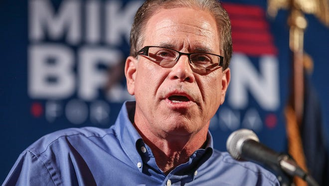 Republican Senate candidate Mike Braun, winner of Indiana's GOP primary, speaks at his election night party at Moontown Brewing Company in Whitestown, Ind., on Tuesday, May 8, 2018.
