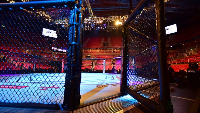 A USA TODAY file photo of a UFC cage.