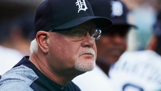 Detroit Tigers manager Ron Gardenhire (15) looks on from the dugout prior to a game against the Cleveland Indians at Comerica Park on May 15, 2018.