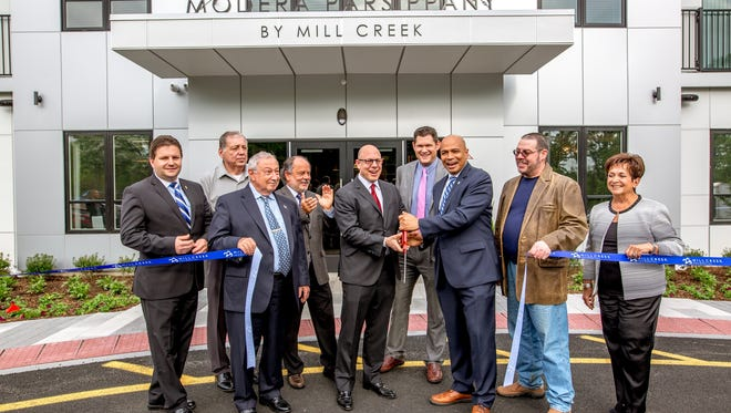 Parsippany Mayor Michael Soriano took center stage at the opening of Modera Parsippany, a community of more than 200 upscale luxury apartments.