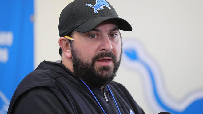 Lions coach Matt Patricia talks with reporters before OTAs on Thursday, May 24, 2018, at the Allen Park practice facility.