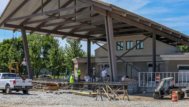 The Nickel Plate District Ampitheater at the north end of Municipal Plaza is under construction in Fishers, Ind., seen Wednesday, May 23, 2018.