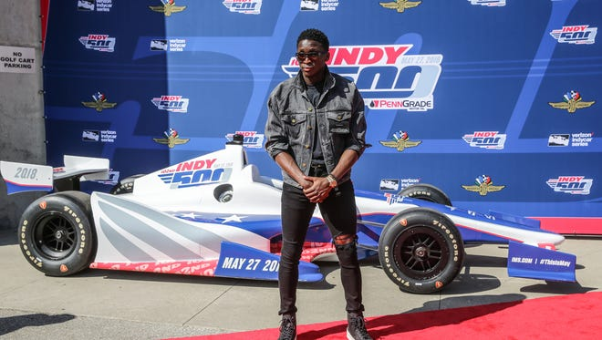 Indiana Pacers player and Pace Car driver Victor Oladipo walks the red carpet during the102nd running of the Indy 500 at Indianapolis Motor Speedway on Sunday, May 27, 2018.