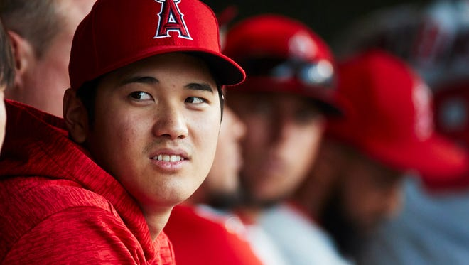 May 29, 2018; Detroit, MI, USA; Los Angeles Angels starting pitcher Shohei Ohtani (17) in the dugout during the fourth inning against the Detroit Tigers at Comerica Park on Tuesday, May 29, 2018.