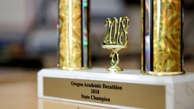 The Central High School Academic Decathlon State Championship trophy on Tuesday, May 29, 2018.