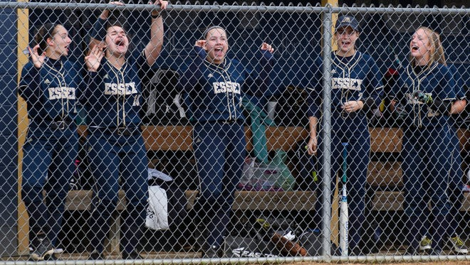 The Essex bench cheers on the team during the girls softball game between the Colchester Lakers and the Essex Hornets at Essex High School on Tuesday afternoon June 5, 2018 in Essex. (BRIAN JENKINS/for the FREE PRESS)