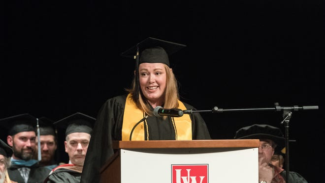 2018 graduate Alicia Harris speaks during the UW-Manitowoc commencement ceremony May 22 in Manitowoc.
