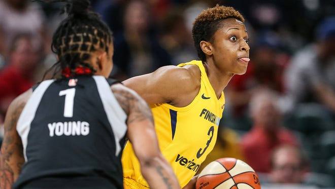 FILE -- Tiffany Mitchell scores 17 points for the Indiana Fever in a loss to Washington on Aug. 18, 2019.