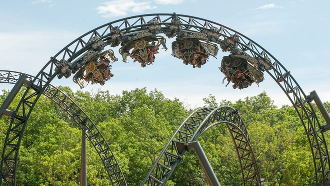 A recent publicity photo of the Time Traveler roller coaster at Silver Dollar City.