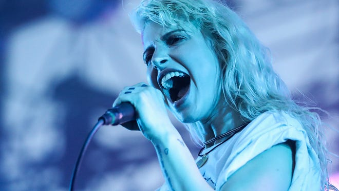 Paramore lead singer Hayley Williams performs with the band on their After Laughter Tour at the Farm Bureau Insurance Lawn at White River State Park in Indianapolis, Sunday, July 1, 2018.