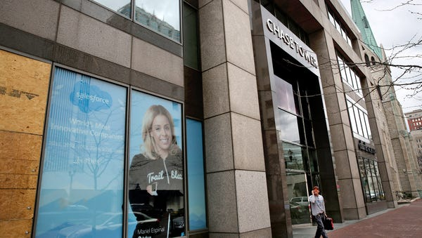 Salesforce signs are seen in some of the base...