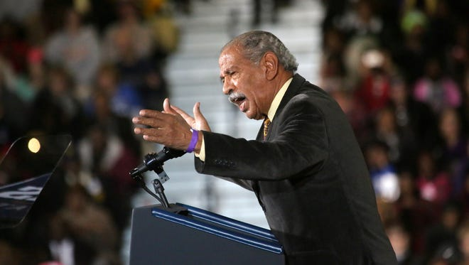 U.S. Congressman John Conyers speaks at the Democratic campaign rally at Wayne State University in Detroit.