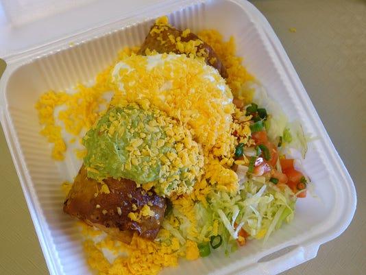 Dominic Armato's favorite: Machaca Chimichanga with Guacamole and Sour Cream at Carolina's