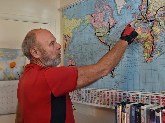 Hans Frischeisen, 73, stands in his Reno home showing