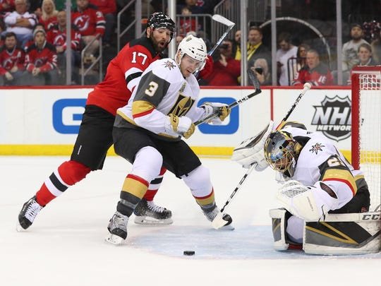 Vegas Golden Knights goaltender Marc-Andre Fleury (29) makes a save during the second period of their game against the New Jersey Devils at Prudential Center.