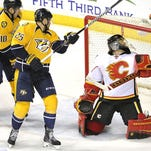 The Predators' four-game winning streak came to an end Sunday against the Calgary Flames.