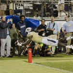 Breshad Perriman attempts to catch a pass in overtime of the UCF versus BYU game.