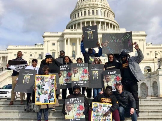 Antoinette Brown participates in a rally for her son, Wendell, in Washington DC in March.