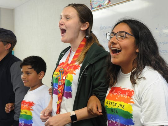 Prism adviser Olivia Strohman is shown with students Uridl Diaz, left, and Valeria Rodriguez. Prism is E.O. Green Junior High School's gay-straight alliance, which works to promote inclusion and acceptance of all students.
