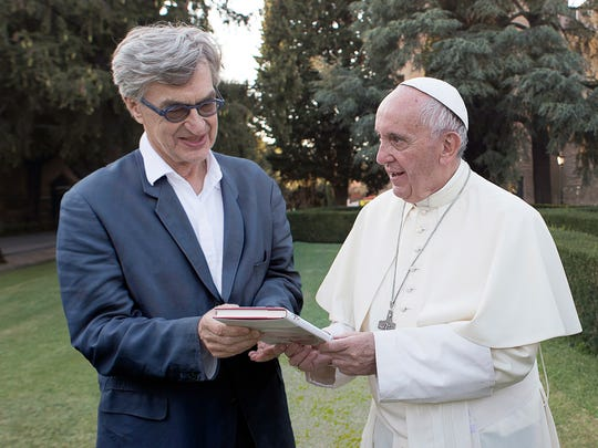 """Director Wim Wenders and Pope Francis during the filming of """"Pope Francis: A Man of His Word."""""""
