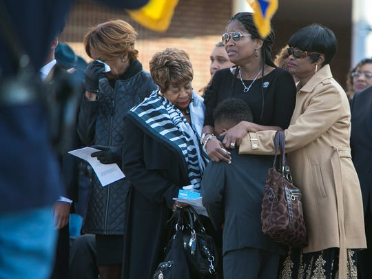 Hundreds gather for the funeral service of Sgt. Rodney Bond Jr. at the Bob Carpenter Center Thursday for the Delaware State Police trooper who died unexpectedly after a run with his son last week.