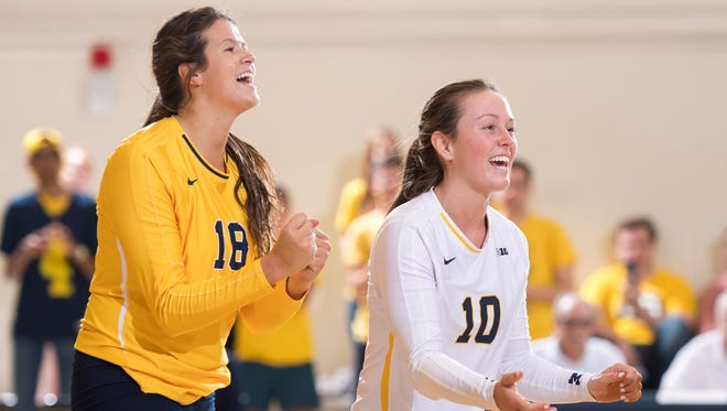 Jenna Lerg (10) and Carly Skjodt during a match earlier this year.