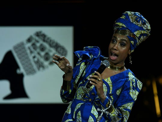 Jazzmeia Horn performs during the 60th Annual Grammy
