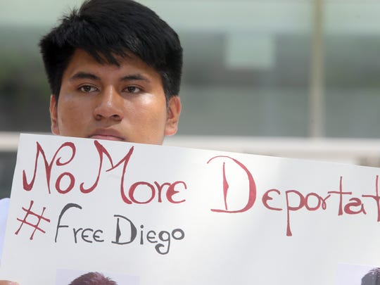 Ossining High School student Kevin Figueroa, a friend of Diego Puma, was among the dozens of people who participated in a rally at Federal Plaza in Manhattan June 12, 2017 to protest the arrest and detention of the Ossining High School student. Puma, 19, and his mother, were arrested by immigrations agents last week and now face deportation to their native Ecuador.