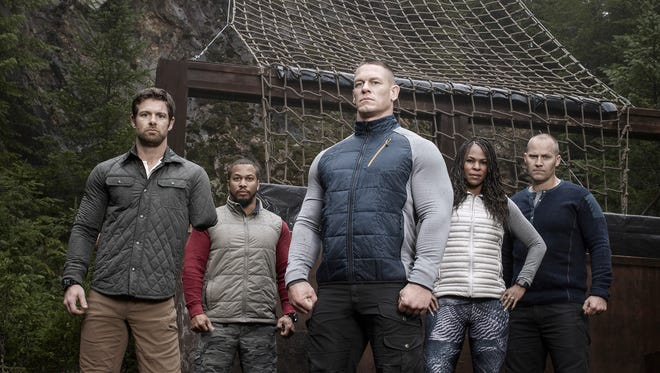 """John Cena (center) is joined by military veterans Noah Galloway, Nick Irving, Tawanda Hanible and Rorke Denver on the new FOX competition show """"American Grit."""""""