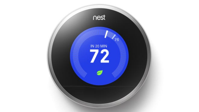 The Nest thermostat, by the creator of the iPod, lets customers control their heating and cooling remotely from their iPhone and promises to help customers save up to 20 percent on their energy bills.